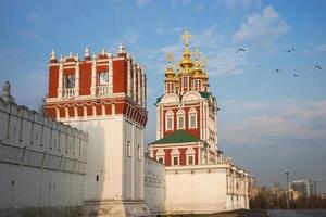 bela vista do convento novodevichy em Moscou, Rússia