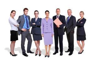 equipe de negócios sete pessoas isoladas foto