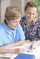tutor em casa feminino, ajudando o menino com estudos