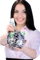 dinheiro e mulher de negócios foto