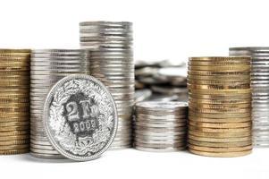pilha de moedas do franco suíço foto