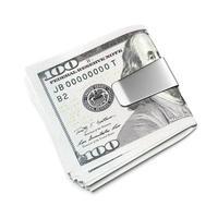 dólares em clipe de dinheiro foto