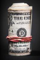 rolar dinheiro close-up foto