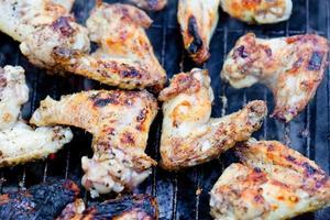 closeup nas asas de frango