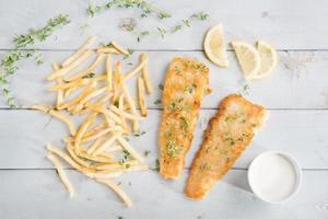 vista superior, peixe frito foto