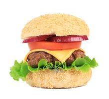 close-up de hambúrguer fresco. foto