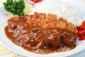 caril de arroz com uma costeleta foto