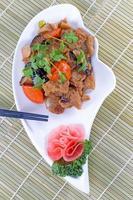prato de tofu frito de cozinha chinesa foto