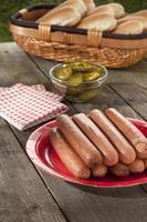 cachorros-quentes no prato