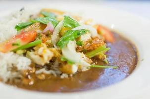 caril de frango chinês e arroz cozido no vapor foto