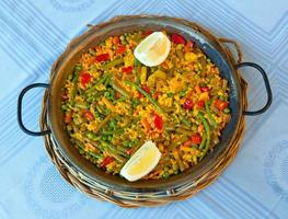 paella e legumes, receita vegetariana. foto
