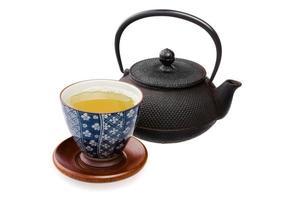 xícara de chá com chaleira