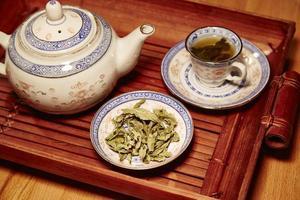 serviço de chá chinês, com folhas de chá verde