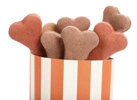 salgadinhos para biscoitos de cães em caixa listrada foto