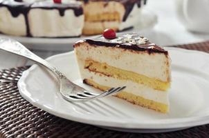 pedaço de bolo suflê foto