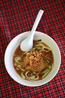macarrão macarrão com sopa de inhame tom de frango picante foto