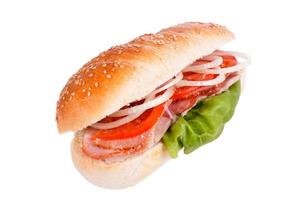 sanduíche, frango, sanduíche de cebola e tomate foto