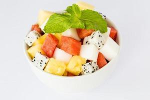 salada de frutas e sobremesa de ágar