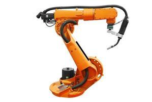 braço robótico industrial alaranjado da máquina foto
