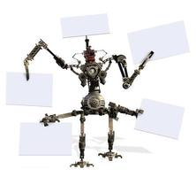 mech robo gigante com sinais em branco foto
