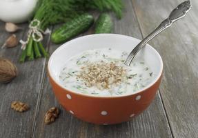 tarator, sopa de leite azedo búlgaro foto