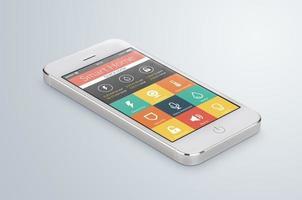 smartphone móvel branco com aplicação doméstica inteligente foto