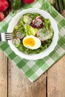salada com ovo, rabanete e pepino. foto