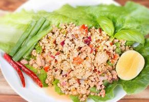 Laab. salada picante de carne picada tailandesa foto