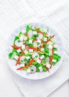 salada com queijo feta e rabanete. salada de vegetais foto