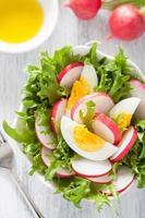 salada saudável com rabanete de ovo e folhas verdes foto