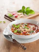 Sopa grossa de vegetais e macarrão foto