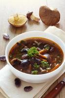 tigela de sopa com feijão e cogumelos foto