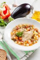 sopa de galinha com legumes da estação foto