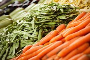 mercado de vegetais romano cenouras de feijão foto
