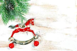 vintage decoração de natal cavalo de balanço foto