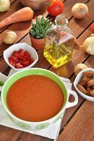 tigela de gaspacho com tomate foto