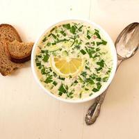 hash - uma sopa fria russa tradicional foto