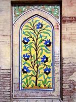 afresco, mesquita wazir khan, lahore, paquistão foto