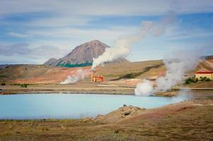 famoso local geotérmico islandês hverir hveravellyr e vasos de barro