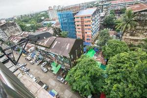 Yangon, Mianmar. Vista aérea da paisagem urbana de Yangon