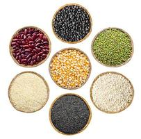 conjunto de grãos de sementes de cereais. foto