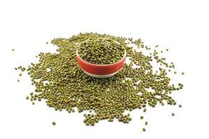 feijão verde ou feijão mungo isolado no fundo branco foto