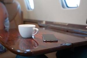 interior do avião a jato