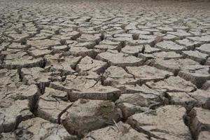leito de lago rachado e seco durante a seca foto