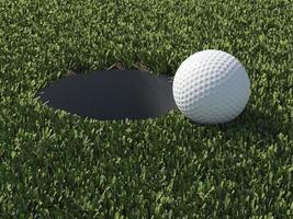 3 d bola de golfe na borda do buraco foto