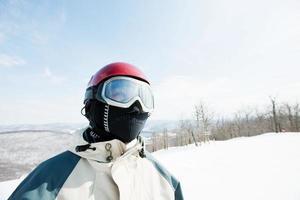 mulher vestindo óculos de esqui, retrato foto
