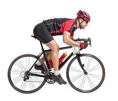 ciclista corre em uma bicicleta foto