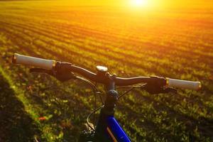 bicicleta de montanha em dia de sol foto