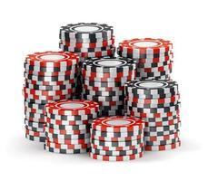 grande pilha de fichas de cassino preto e vermelho foto