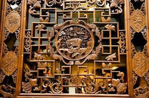 janela esculpida velha rua jinli chengdu sichuan china